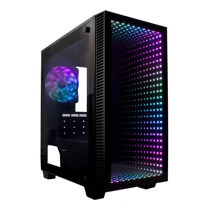 GABINETE GAME FACTOR CSG560 OPTICAL MATX RGB SIN FUENTE NEGRO